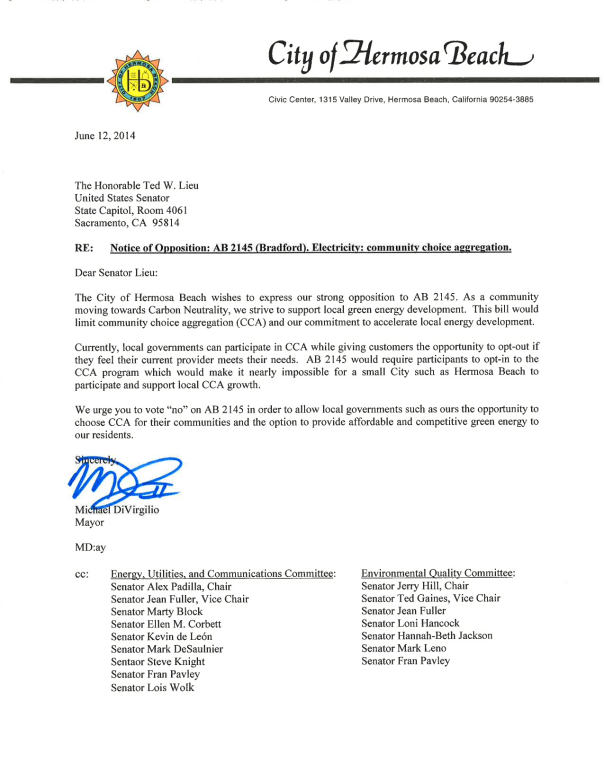 Hermosa Beach AB 2145-Opposition letter-signed