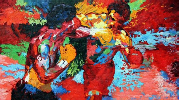 Rocky vs Apollo Painting by Leroy Neiman; Rocky vs Apollo Art Print for sale